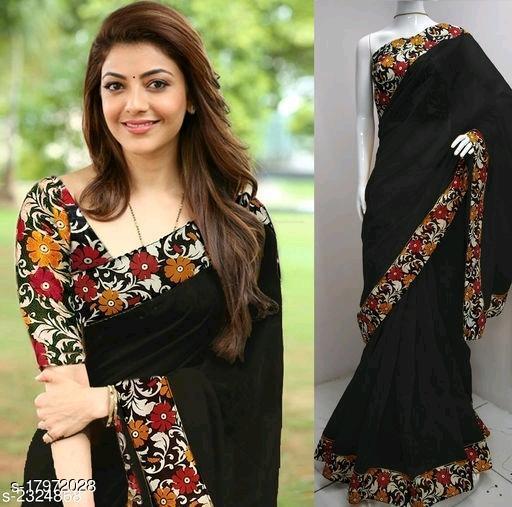 chanderi cotton black saree