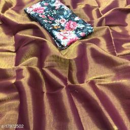 Indira Fashion Red Color zari Weaving Fabric Plain Saree (SATIN GLORY RED)