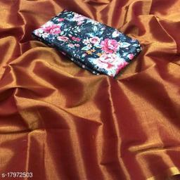 Indira Fashion Brown Color zari Weaving Fabric Plain Saree (SATIN GLORY BROWN)