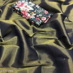 Indira Fashion Black Color zari Weaving Fabric Plain Saree (SATIN GLORY BLACK)