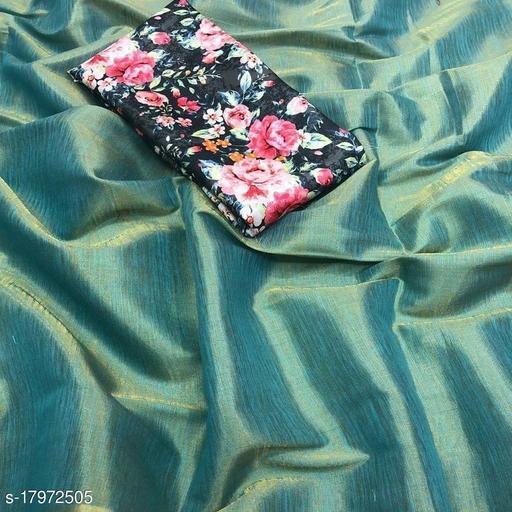 Indira Fashion Rama Color zari Weaving Fabric Plain Saree (SATIN GLORY RAMA)