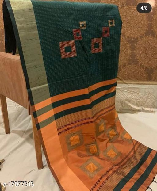 Unique Weaves Soft raw silk weaving saree with geometrical  woven pallu and katha weaving on all over body with contrast blouse piece and fancy tassels