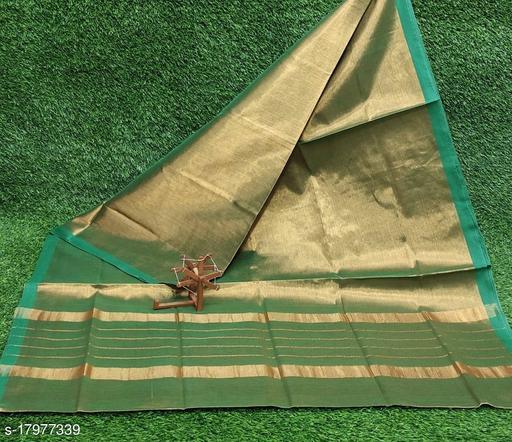 Indira Fashion Rama Color Uppada Tissue Fabric Plain Saree (Uppada tissue_Rama)