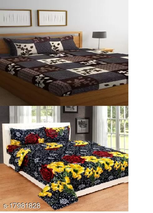 Fine Polycotton 2 Double Bedsheets  (Size 90*90) with 4 Pillow covers(Size 16*26)