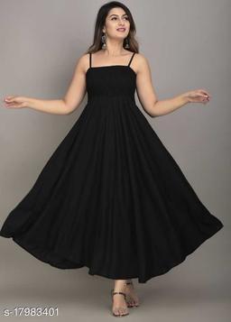 Zamaisha Black Rayon A-Line Bobbin Maxi Dress for Women