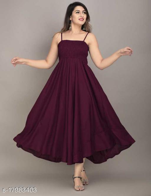 Zamaisha Wine Rayon A-Line Bobbin Maxi Dress for Women