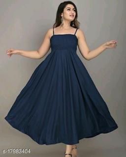Zamaisha Navy Rayon A-Line Bobbin Maxi Dress for Women