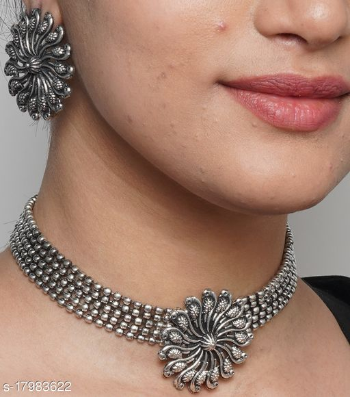 Oxidized Silver Color Necklace Set With Earrings