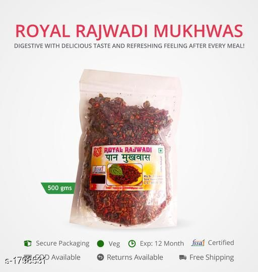 Candy, Churan and Mukhwas royal rajwadi-500gms  Royal rajwadi special mukhwas in 500gms secure pack   *Sizes Available* Free Size *    Catalog Name: Royal Mukhwas CatalogID_236309 C93-SC1356 Code: 543-1798531-999