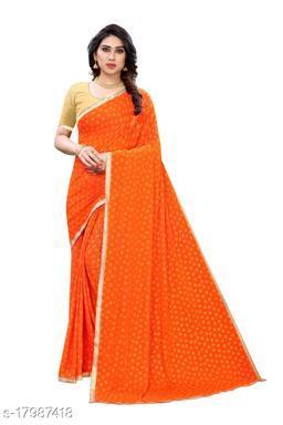 TRENDY Orange Color Art Silk Foil Print Saree (TIRATH ORANGE)
