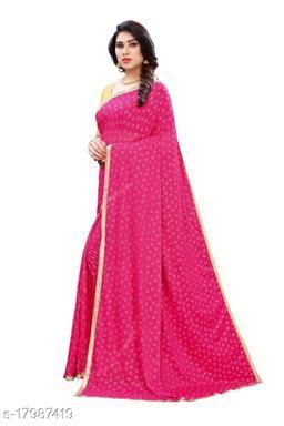 TRENDY Pink Color Art Silk Foil Print Saree (TIRATH PINK)