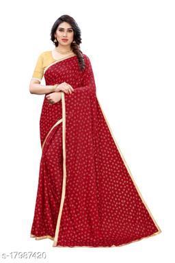 TRENDY Red Color Art Silk Foil Print Saree (TIRATH RED)