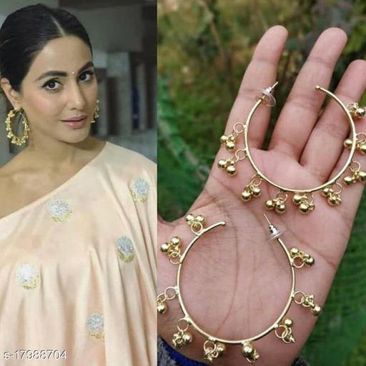 Strigehne Hina Khan Ghungroo Gold Earrings