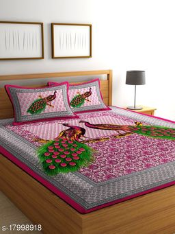 Pure 100% Cotton Double Bed Bedsheet With 2 Pillow Covers