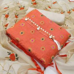 Divaastha Chanderi Orange Woven Kurta & Churidar Material  ( VAR1011ORANGE )