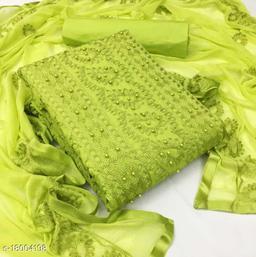 Divaastha Cotton Green Embroidered Kurta & Churidar Material  ( VAR1012GREEN )