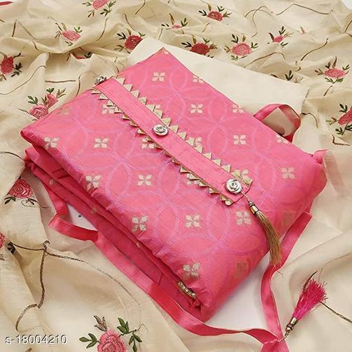 Divaastha Chanderi Pink Woven Kurta & Churidar Material  ( VAR1010PINK )