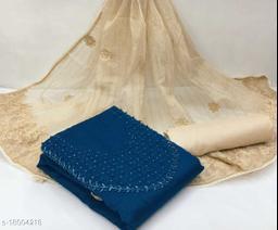 Divaastha Chanderi Blue Embroidered Kurta & Churidar Material  ( VAR1006BLUE )