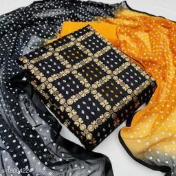 Divaastha Chanderi Black Woven Kurta & Churidar Material  ( VAR1005BLACK )