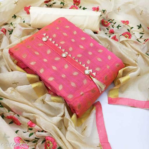 Divaastha Chanderi Pink Woven Kurta & Churidar Material  ( VAR1003LIGHTPINK )