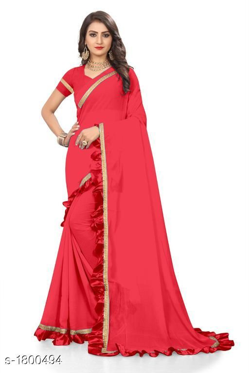 Sarees Attractive Chiffon Women's Saree  *Fabric* Saree -  Chiffon, Blouse -  Chiffon  *Size* Saree Length With Running Blouse  *Work * Ruffle Border  *Sizes Available* Free Size *    Catalog Name: Eeshani Attractive Chiffon Women's Sarees Vol 9 CatalogID_236598 C74-SC1004 Code: 005-1800494-