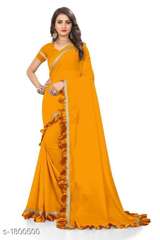 Sarees Attractive Chiffon Women's Saree  *Fabric* Saree -  Chiffon, Blouse -  Chiffon  *Size* Saree Length With Running Blouse  *Work * Ruffle Border  *Sizes Available* Free Size *    Catalog Name: Eeshani Attractive Chiffon Women's Sarees Vol 9 CatalogID_236598 C74-SC1004 Code: 005-1800500-