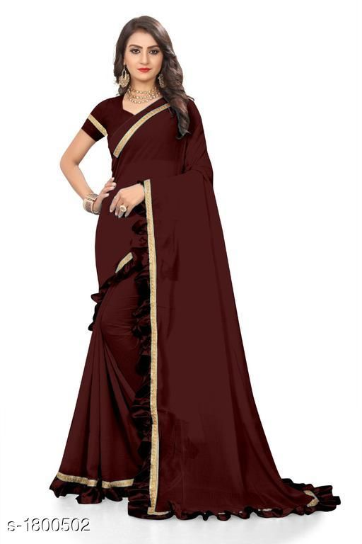 Sarees Attractive Chiffon Women's Saree  *Fabric* Saree -  Chiffon, Blouse -  Chiffon  *Size* Saree Length With Running Blouse  *Work * Ruffle Border  *Sizes Available* Free Size *    Catalog Name: Eeshani Attractive Chiffon Women's Sarees Vol 9 CatalogID_236598 C74-SC1004 Code: 735-1800502-