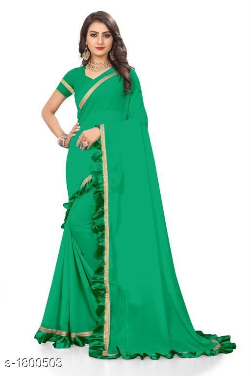 Sarees Attractive Chiffon Women's Saree  *Fabric* Saree -  Chiffon, Blouse -  Chiffon  *Size* Saree Length With Running Blouse  *Work * Ruffle Border  *Sizes Available* Free Size *    Catalog Name: Eeshani Attractive Chiffon Women's Sarees Vol 9 CatalogID_236598 C74-SC1004 Code: 005-1800503-