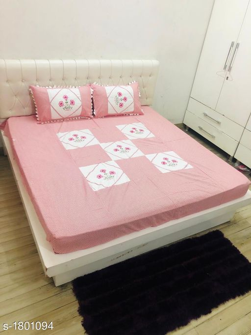 Colorful Microfiber Embroidery Work Double Bedsheets