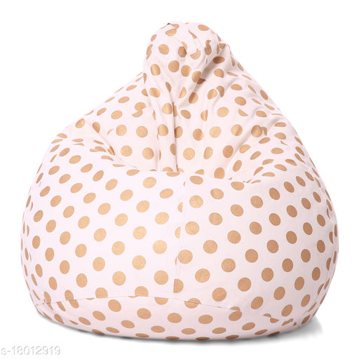 Style Homez Classic Cotton Canvas Polka Dots Printed Bean Bag XL Size Cover Only