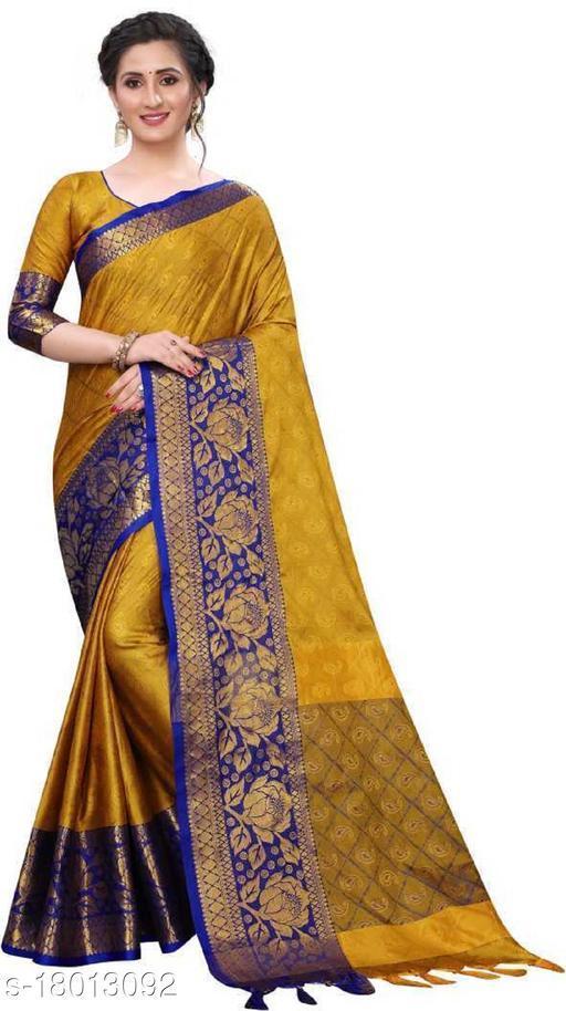 Aurima Kanjivaram Silk Woven Jacquard Designer Saree For Women (Yellow)