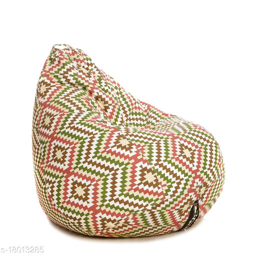 Style Homez Classic Cotton Canvas IKAT Printed Bean Bag XL Size Cover Only