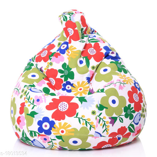 Style Homez Classic Cotton Canvas Floral Printed Bean Bag XL Size Cover Only