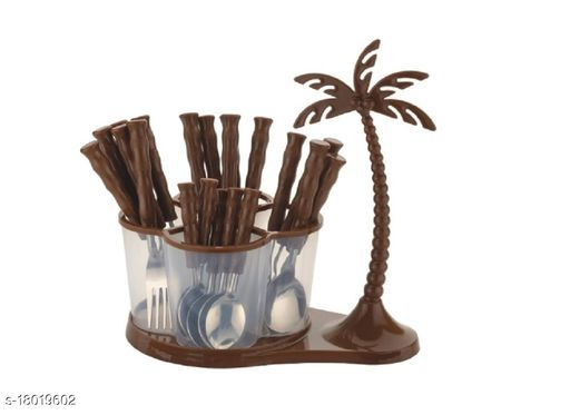 Arshil Antic Coconut Cutlery Serving Set, Spoon Set, Knives Set, Cutlery Set with Stand, Cutlery Set for Dinning