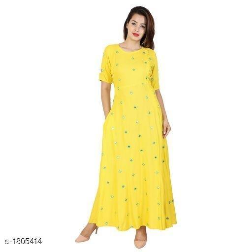 Women's Embellished Rayon Long Anarkali Kurti