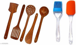 New Wooden Non-Stick Serving and Cooking Spoon Kitchen Tools Utensil, Set of 5 Size Combo with Small Spatula and Brush Set