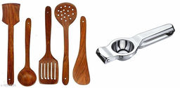 New Wooden Non-Stick Serving and Cooking Spoon Kitchen Tools Utensil, Set of 5 Size Combo with Lemon Squeezer