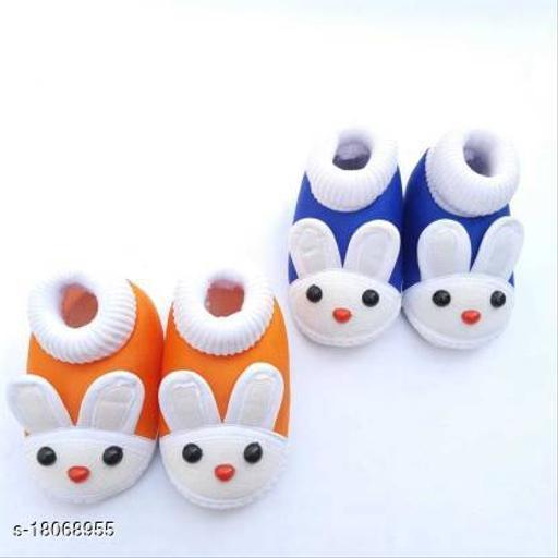 LMN Child Care Bootie K.3-6 Booties(Toe to Heel Length - 12 cm, Orange, Blue)
