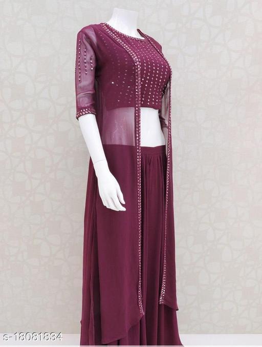 JENISH FASHION Gorgette Lehanga Choli (semi stitched)