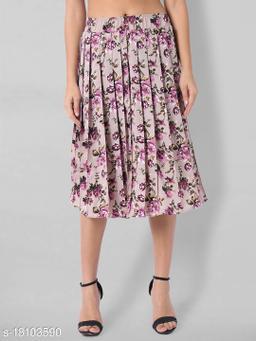 Women Pleated Knee Length Skirt