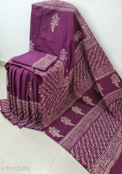 KOS Mulmul Cotton Handmade Batik Designer Saree With Unstitched Running Blouse For Women Wedding Wear Party Wear Sari
