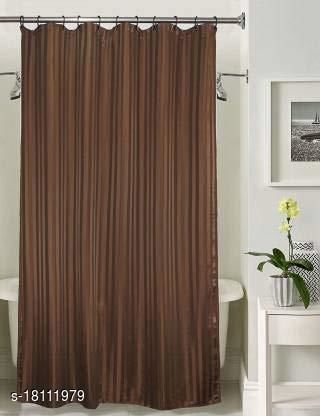 Self Strip Plain Design PVC 7 Ft. Long Shower Curtain With Hooks- Brown (WidthxHeight-54x84 inches)(Pack Of 1 Pc)