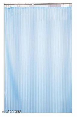 Self Strip Plain Design PVC 7 Ft. Long Shower Curtain With Hooks- Firozi (WidthxHeight-54x84 inches)(Pack Of 1 Pc)