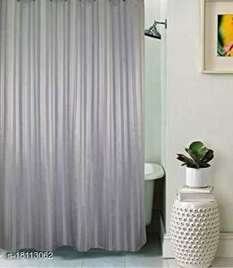 Self Strip Plain Design PVC 7 Ft. Long Shower Curtain With Hooks-Light Grey (WidthxHeight-54x84 inches)(Pack Of 2 Pc)