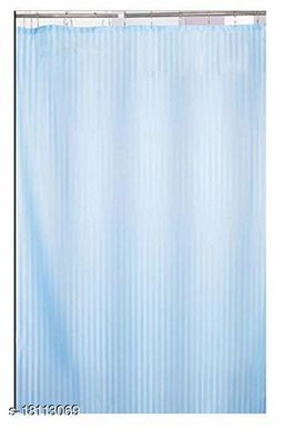 Self Strip Plain Design PVC 7 Ft. Long Shower Curtain With Hooks- Firozi (WidthxHeight-54x84 inches)(Pack Of 2 Pc)