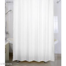 Self Strip Plain Design PVC 7 Ft. Long Shower Curtain With Hooks-White(WidthxHeight-54x84 inches)(Pack Of 2 Pc)