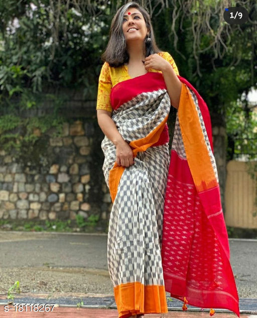 Kanha Mulmul Cotton Handmade Batik Designer Saree With Unstitched Running Blouse