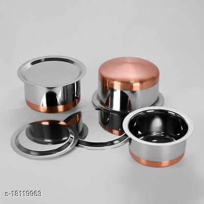 3 Pcs Stainless Steel High Copper Tope Set With Lid  ( 3 Pieces,2 Ltr, 3 Ltr, 2.5 Ltr)