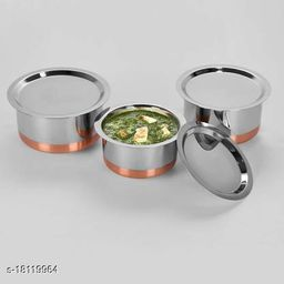 3 Pcs Stainless Steel High Copper Tope Set With Lid  ( 3 Pieces,1 Ltr, 1.5 Ltr, 2 Ltr)