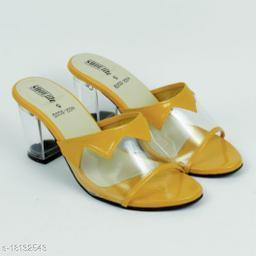 Stylish Women's Synthetic Mustard Heels